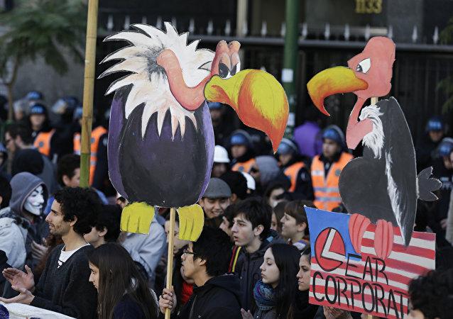 Protesta contra los fondos buitre en Buenos Aires, Argentina