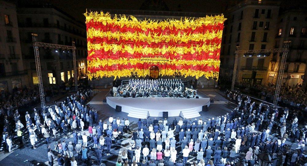 Bandera de Cataluña proyectada en Palacio de la Generalitat