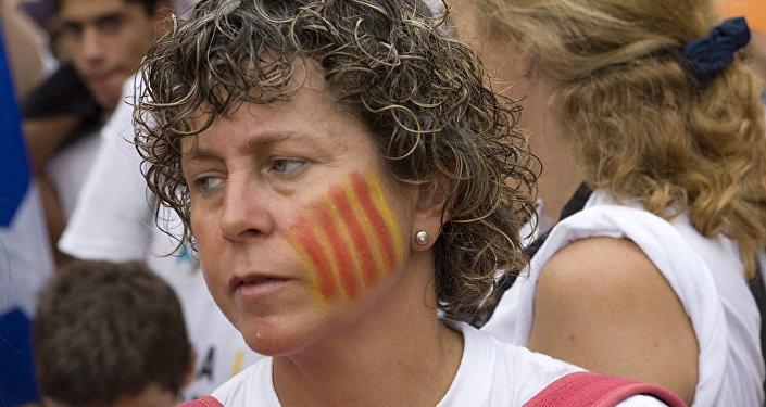 Una partidaria de la independencia de Cataluña en Barcelona