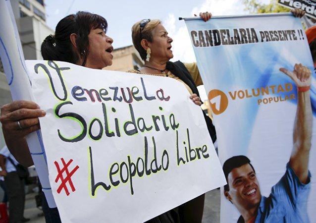 Manifestación en apoyo del opositor venezolano Leopoldo López (archivo)