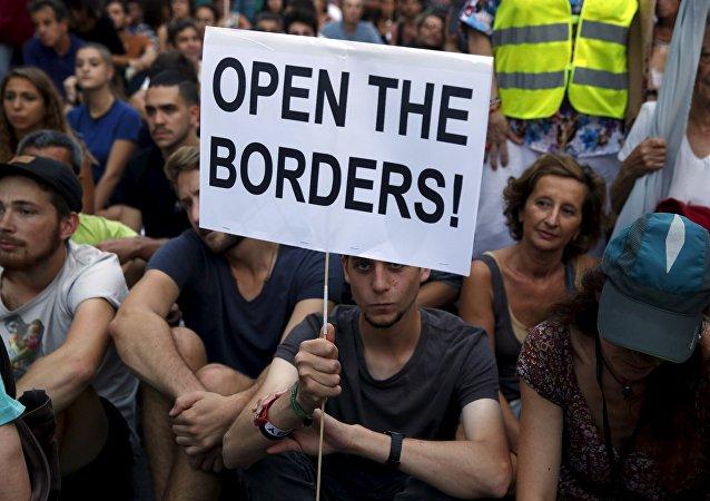 Manifestación en solidaridad con los refugiados en Madrid