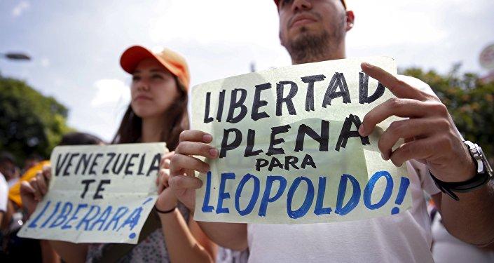 Manifestantes exigen la liberación del líder opositor Leopoldo López