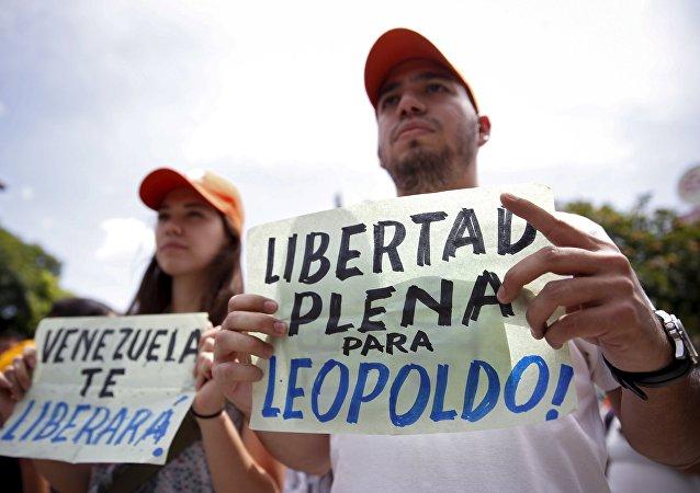 Manifestantes exigen la liberación del líder opositor Leopoldo López (archivo)