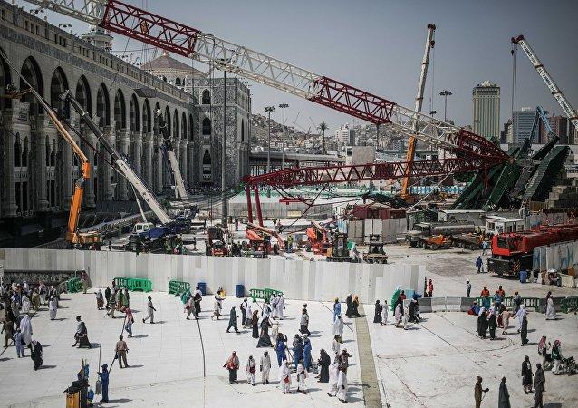 Grúa caída en la Gran Mezquita de La Meca