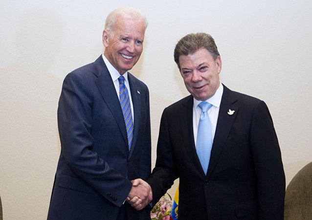 Vicepresidente de EEUU, Joe Biden y presidente de Colombia, Juan Manuel Santos