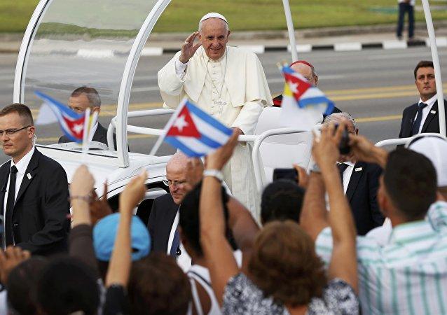 Papa Francisco en la Plaza de la Revolución en La Habana