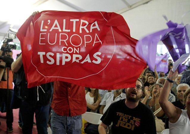 Partidarios de Syriza en Atenas