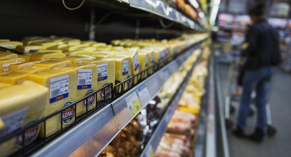 Queso ucraniano en un supermercado en Rusia