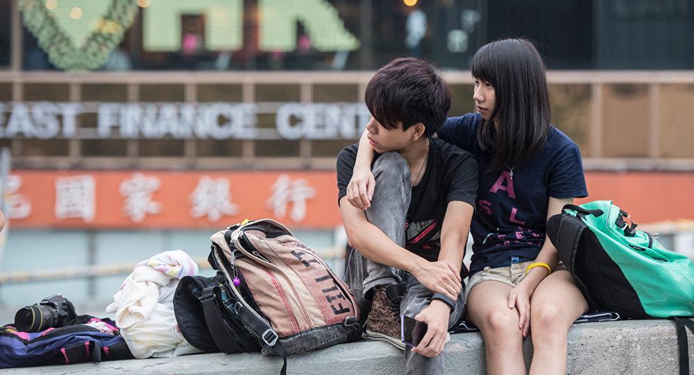 Una pareja en Hong Kong