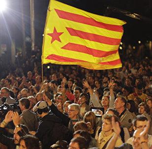 Una bandera catalana en Barcelona
