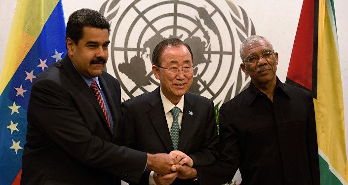 Presidente de Venezuela, Nicolás Maduro, secretario general de las Naciones Unidas, Ban Ki-moon, y presidente de Guyana, David Granger