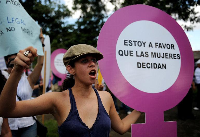 Activistas de Nicaragua participan en la protesta a favor del aborto, Managua