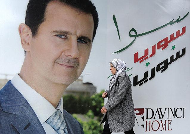 Póster de presiente de Siria, Bashar Asad en Damasco