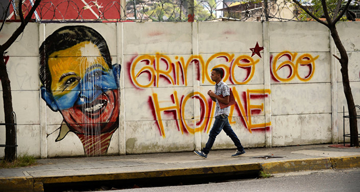 Grafiti antiamericano en Caracas