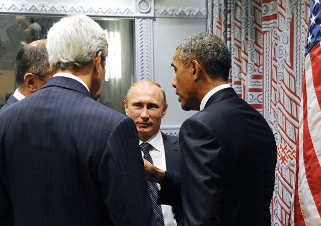 Presidente de Rusia, Vladímir Putin y presidente de EEUU, Barack Obama