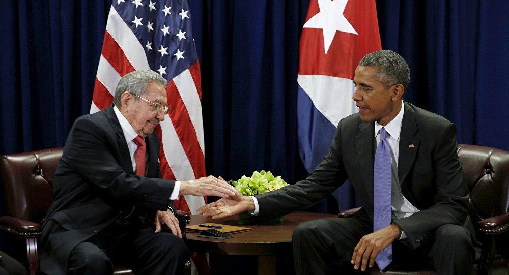 Presidente de Cuba, Raúl Castro y presidente de EEUU Barack Obama