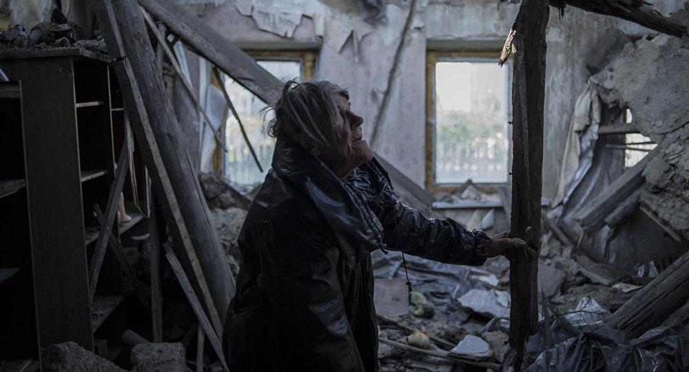 Vecino del pueblo Staromykhailivka de la región de Donetsk