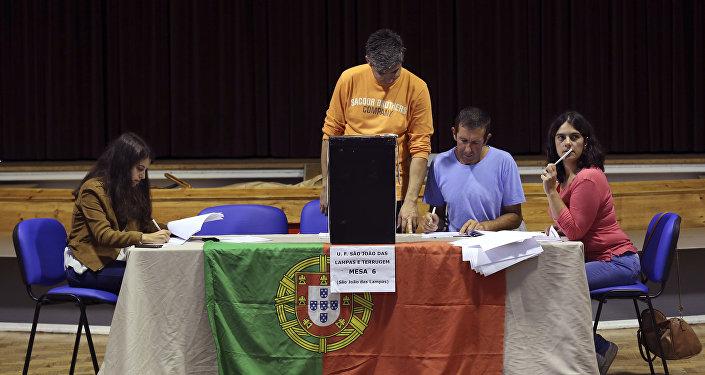 Un colegio electoral en Portugal