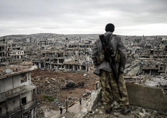 Combatiente kurdo en la ciudad siria (archivo)
