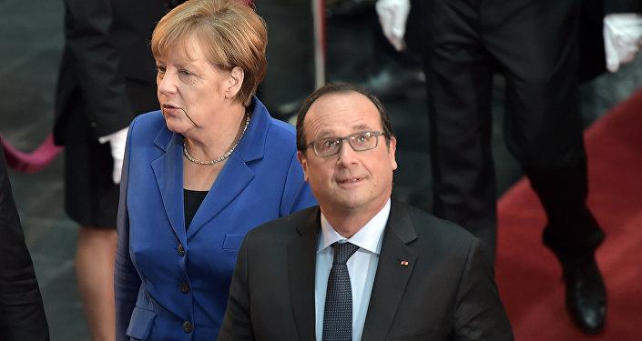 Presidente de Francia, François Hollande, y canciller de Alemania, Angela Merkel