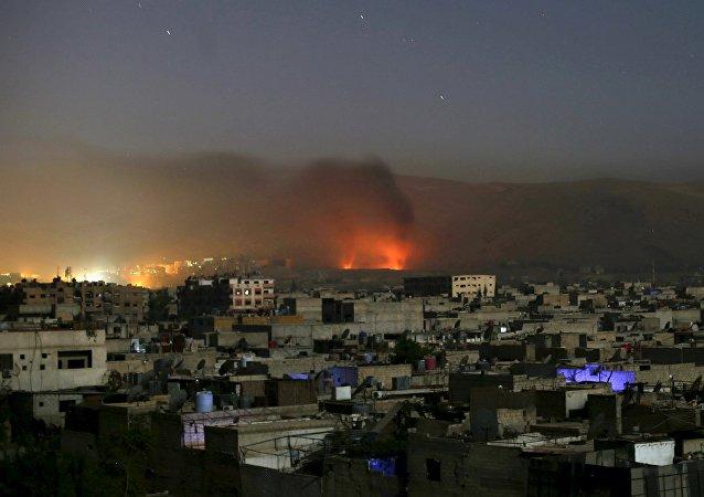 Ciudad de Duma en la provincia de Damasco, Siria, el 1 de octubre, 2015