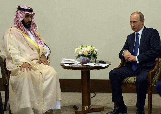 Vladímir Putin, presidente ruso, durante la reunión con Mohamed bin Salmán, príncipe heredero sustituto y ministro de defensa de Arabia Saudí (archivo)