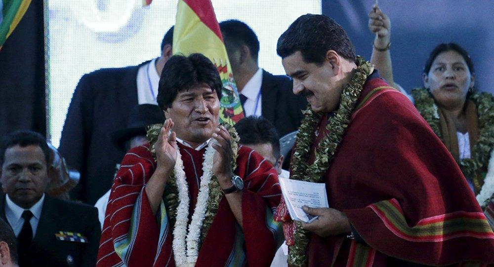 Presidente de Bolivia, Evo Morales, y presidente de Venezuela, Nicolás Maduro