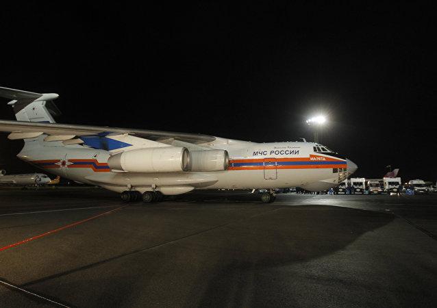El avión del Ministerio ruso de Emergencias