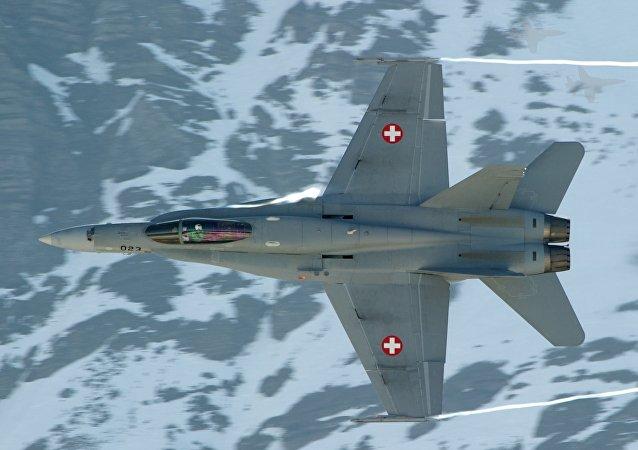 Avión F/A-18 Hornet de la Fuerza Aérea de Suiza