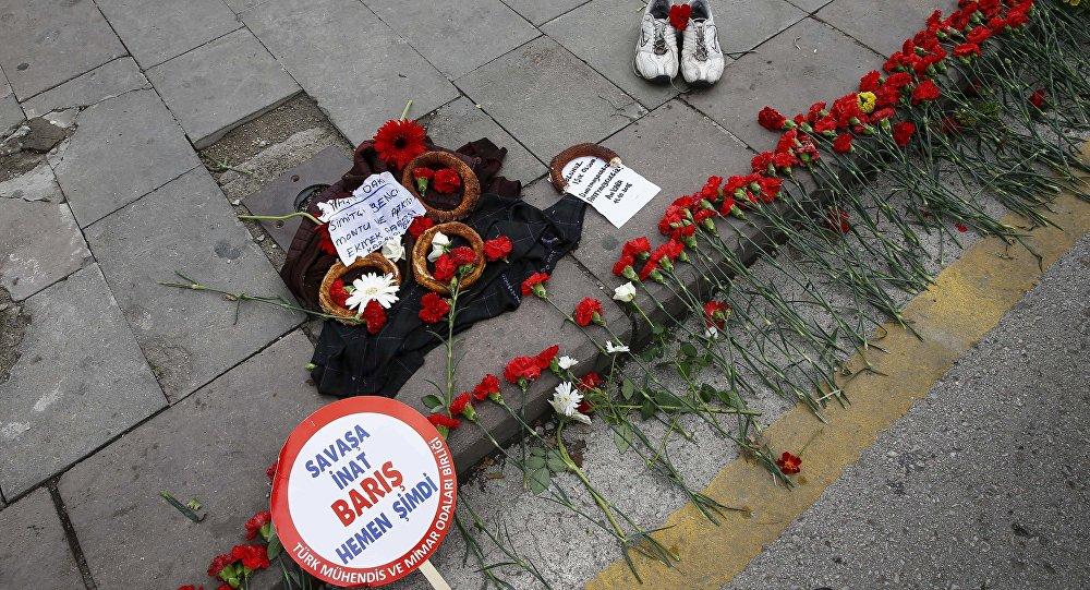 El lugar del atentado en Ankara, Turquía