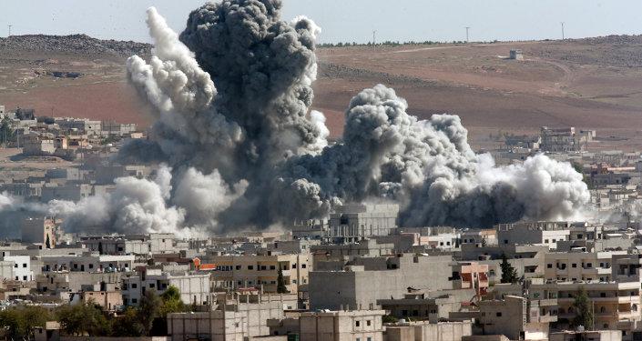 Bombardeos de la coalición internacional en Kobani, Siria