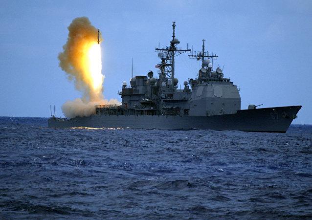 Misil SM-3 lanzado desde el destructor de las Fuerzas Navales de los EEUU USS Shiloh