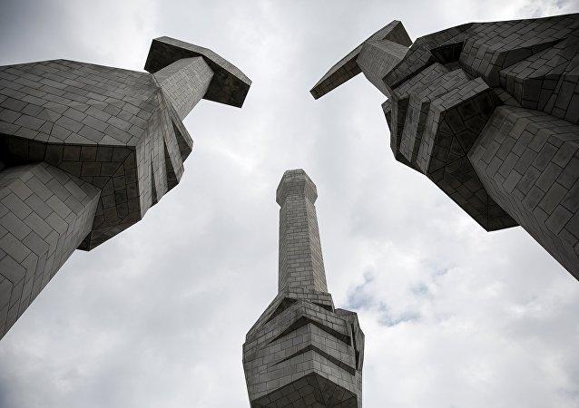 Monumento a la fundación del Partido de los Trabajadores de Corea en Pyongyang