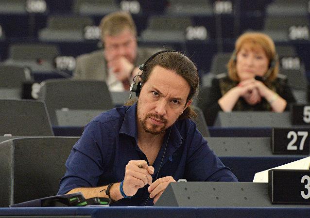 Pablo Iglesias en el Parlamento Europeo, el 27 de octubre, 2015