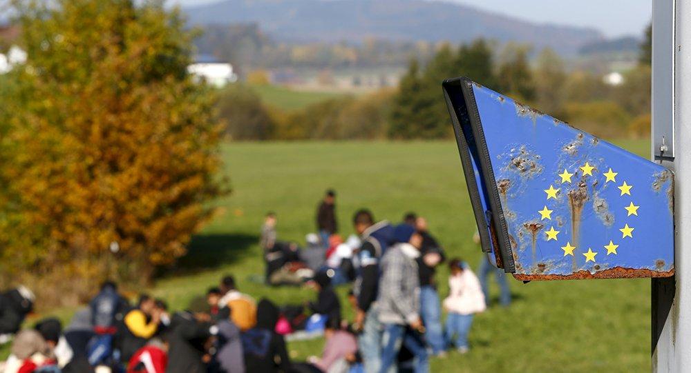 Refugiados en la frontera entre Austria y Alemania