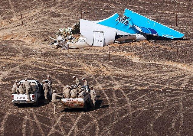 Los restos del avión ruso A321 en Egipto