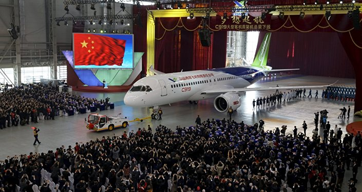 The first C919 passenger jet made by the Commercial Aircraft Corp of China (Comac)