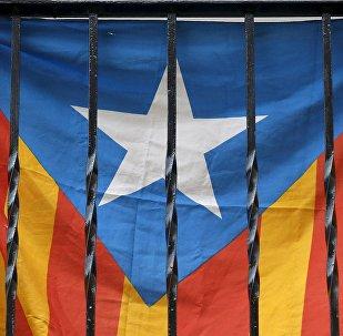 Bandera de Cataluña en un balcón en Barcelona