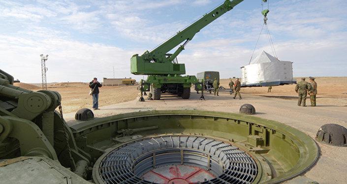 El plataforma de lanzamiento de los misiles intercontinentales en Baikonur