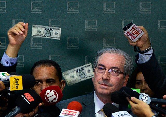 Presidente del Congreso, Eduardo Cunha atacó por el manifestante