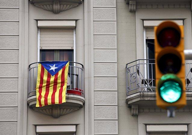 La bandera de Cataluña en Barcelona