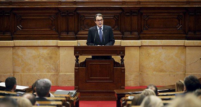 Artur Mas en el Parlamento de Cataluña, 9 de noviembre de 2015
