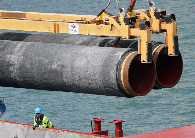 Construcción de una sección del gasoducto Nord Stream (archivo)