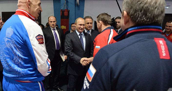 Presidente de Rusia, Vladímir Putin, en el Centro Federal de Lucha Yug Sport