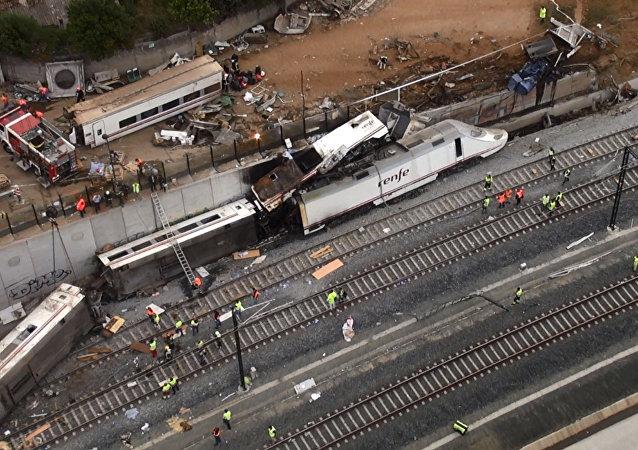 Sitio del siniestro del tren en Santiago de Compostela