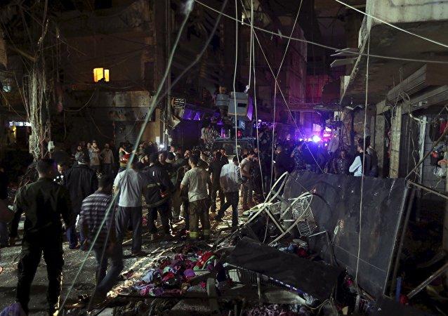 El lugar del atentado en Beirut, Líbano
