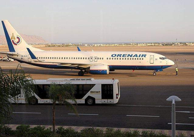 Avión de la compañía aérea rusa Orenair en el aeropuerto de Sharm el-Sheij