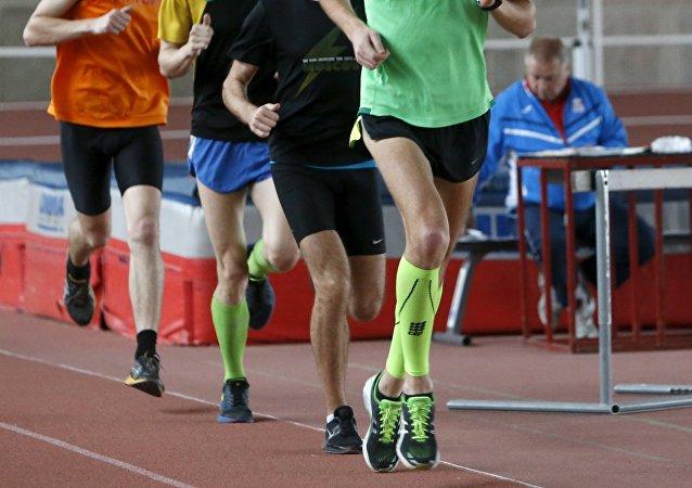 Atletas rusos en Moscú