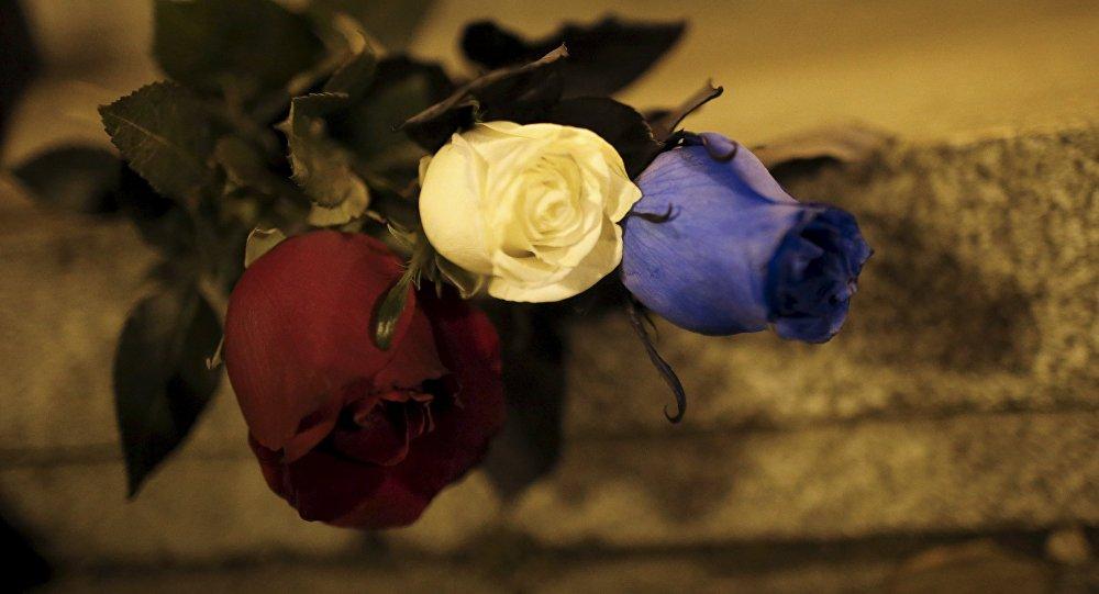 Rosas en homenaje a las víctimas de los atntados en París