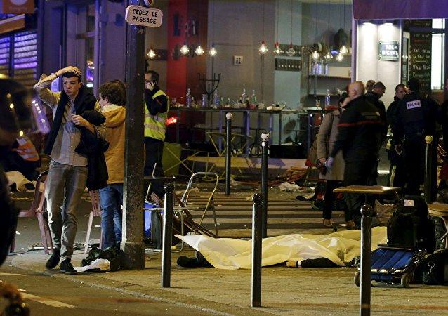 Lugar de uno de los atentados en París